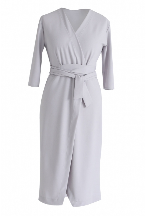 Jasnoszara sukienka z wiązaniem - VENEZIA