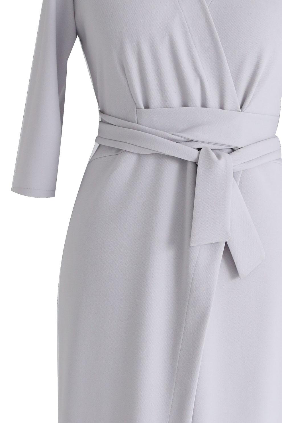 c9f5f098 Jasnoszara sukienka z wiązaniem - VENEZIA - Sklep PLUS SIZE XL-ka