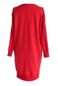 Czerwona dresowa sukienka z grafiką KEYS