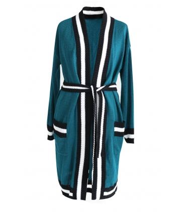 Zielony długi wiązany sweter SUSANA