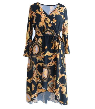 Czarna sukienka w złoty wzór DOLCE