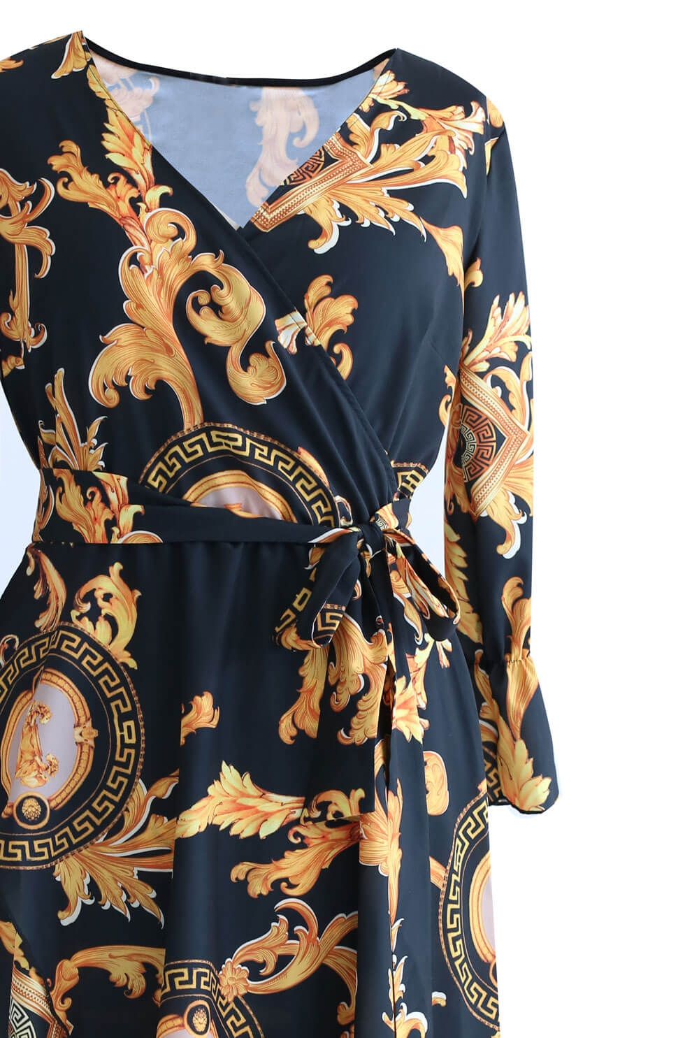 Czarna sukienka w złoty wzór DOLCE sklep XL ka