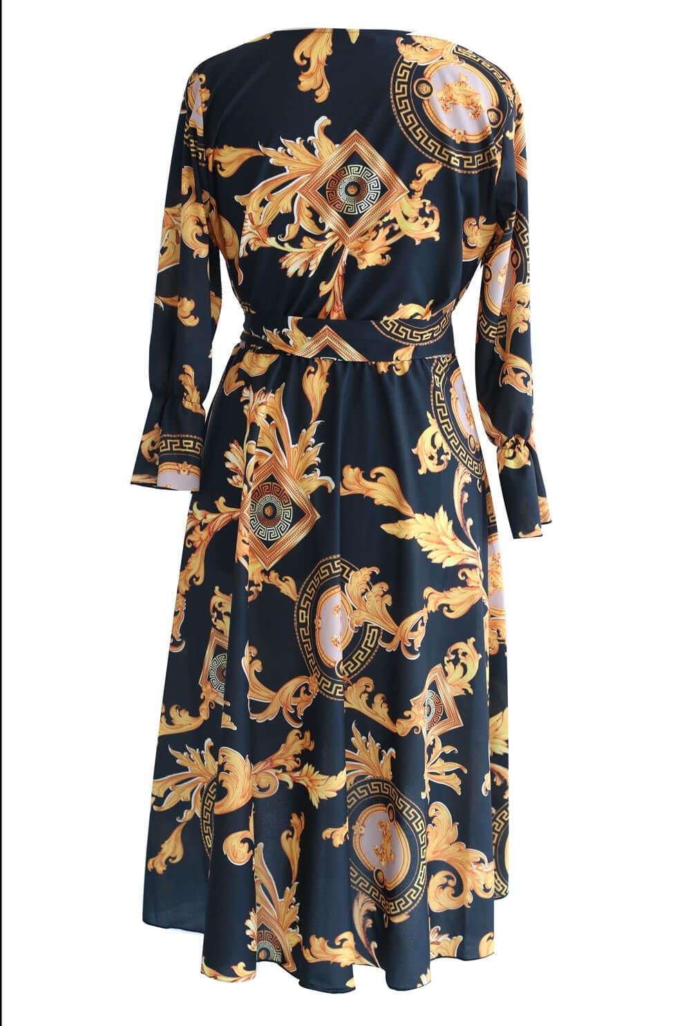 8217ae9c Czarna sukienka w złoty wzór DOLCE - sklep XL-ka