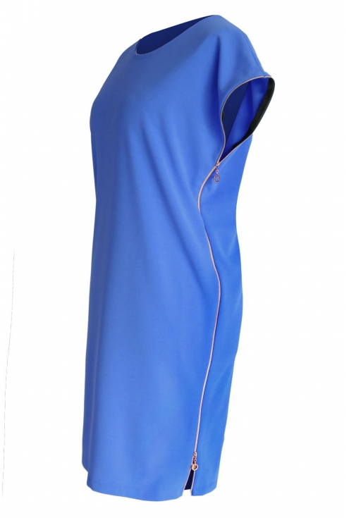 Niebieska sukienka z suwakami EDITH