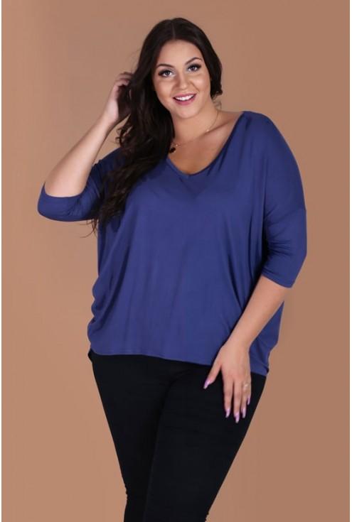Bluzka z dłuższym tyłem NIKI - kolor jeansowy