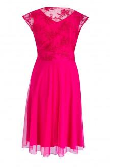 Malinowa wieczorowa sukienka z koronką LUCILLE