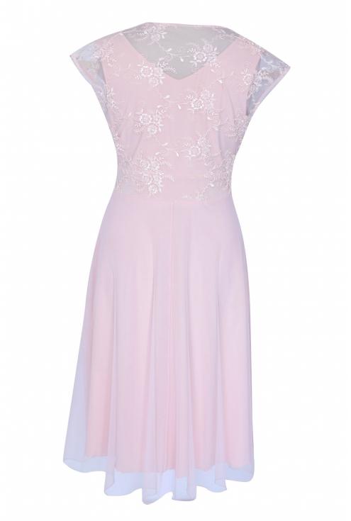 Pudrowa wieczorowa sukienka z koronką LUCILLE