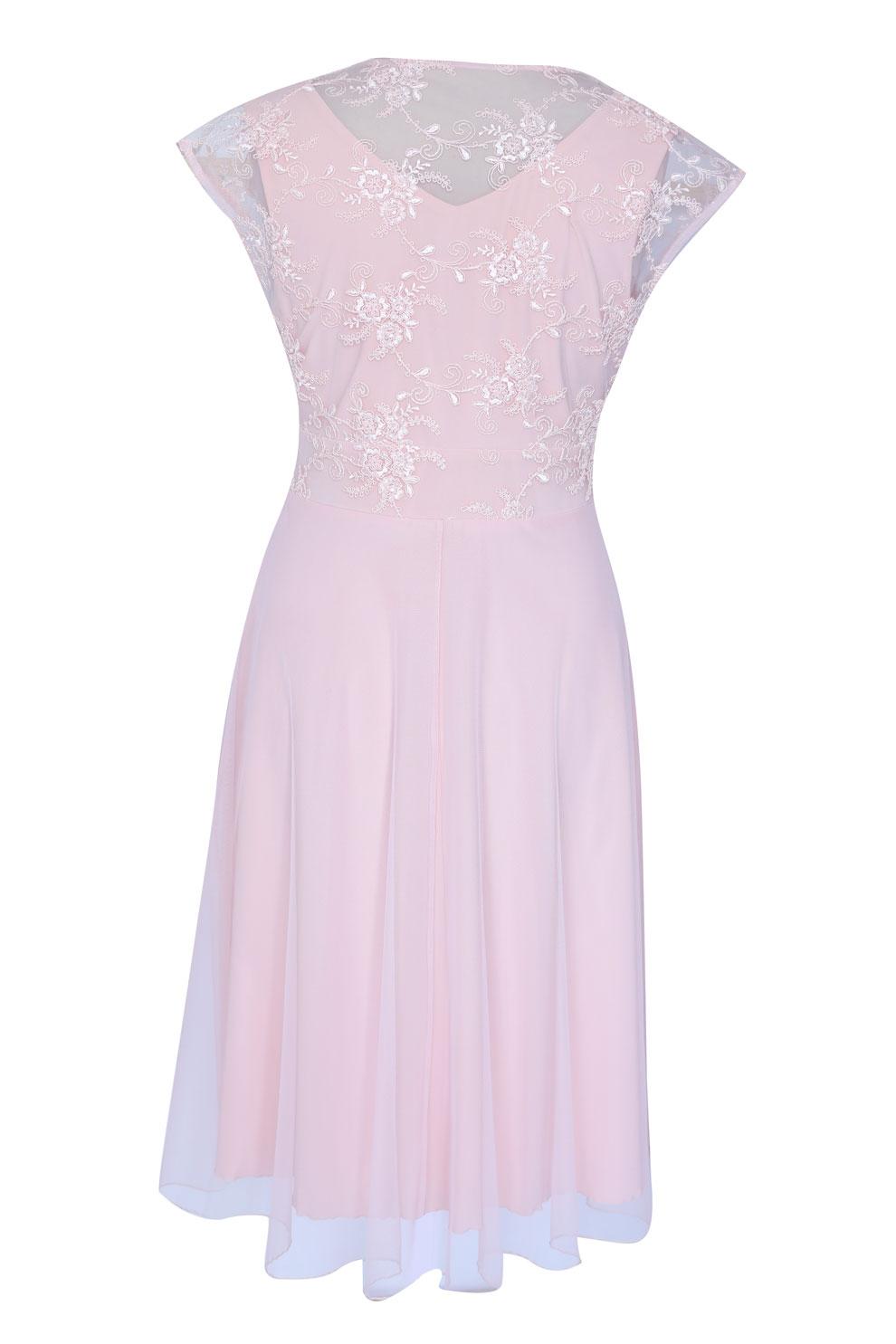 53c99004d4 Pudrowa wieczorowa sukienka z koronką LUCILLE XL-ka