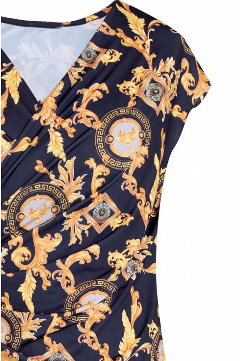 Czarno złota sukienka z marszczeniem PALOMA