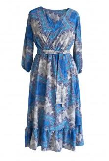 Niebieska sukienka MAXI 7/8 w kwiatki LAYLA