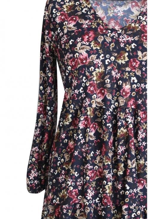 Czarna rozkloszowana sukienka kwiatowy wzór RYAN