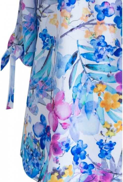 Bluzka hiszpanka w kwiatki z krótkim wiązanym rękawem NINA