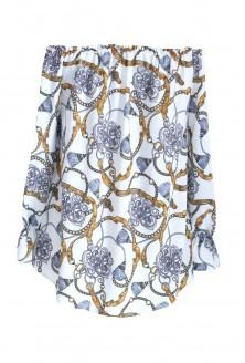 Bluzka hiszpanka z wzorem ze złotym łańcuchem MARCELA