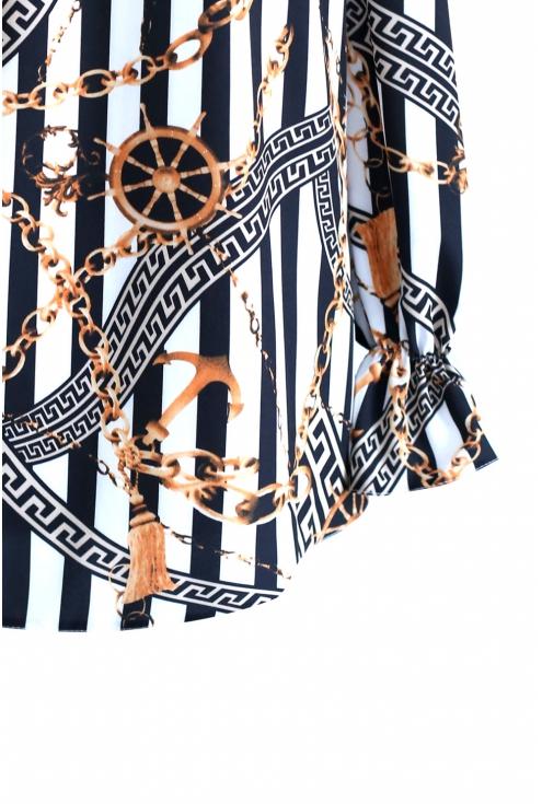Bluzka Hiszpanka w czarno białe paski MARCELA