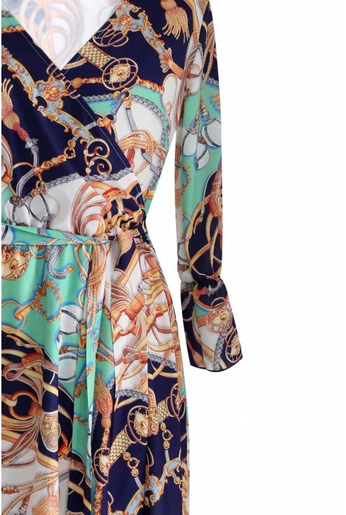 detal biało turkusowej sukienki plus size dolce