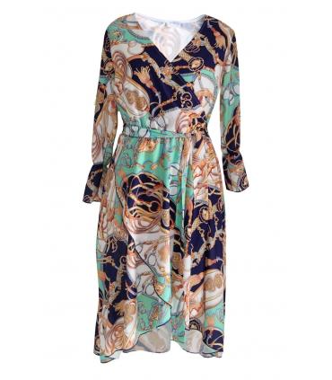 Biało-miętowa sukienka wzór DOLCE 3