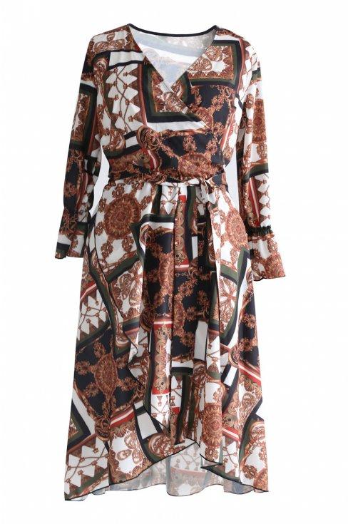 Biało-brązowa sukienka wzór DOLCE 2