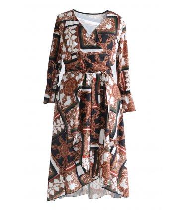 Sukienka wzór DOLCE cooper - miedziany brąz i zielona oliwka