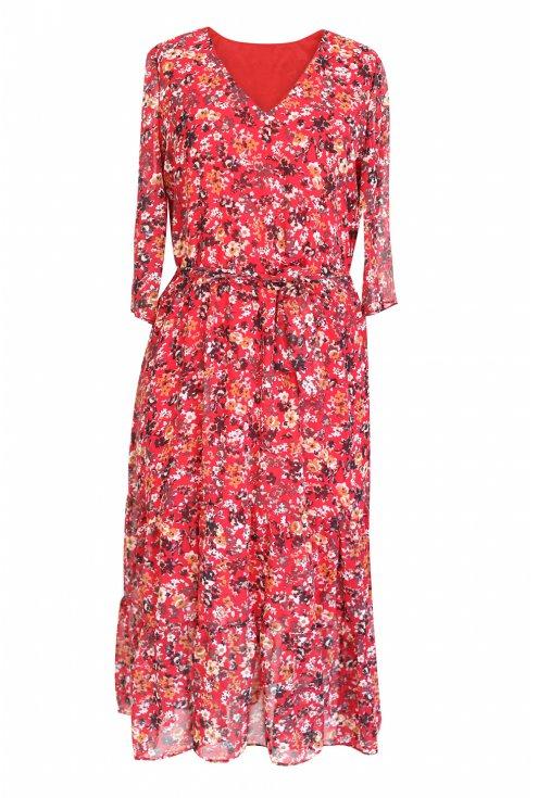 czerwona sukienka maxi kwiatki