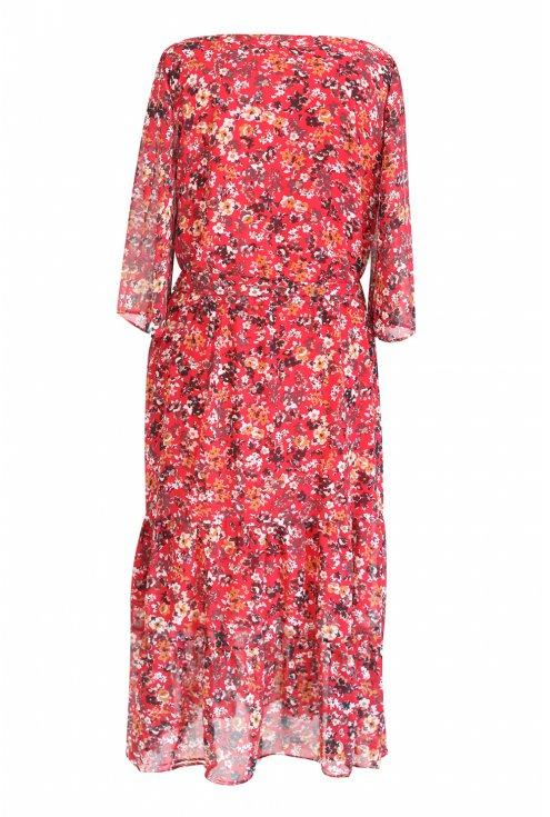 Czerwona sukienka Maxi 7/8 w kwiatki L'AMOUR