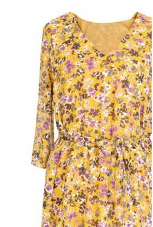 Żółta sukienka Maxi 7/8 w kwiatki L'AMOUR