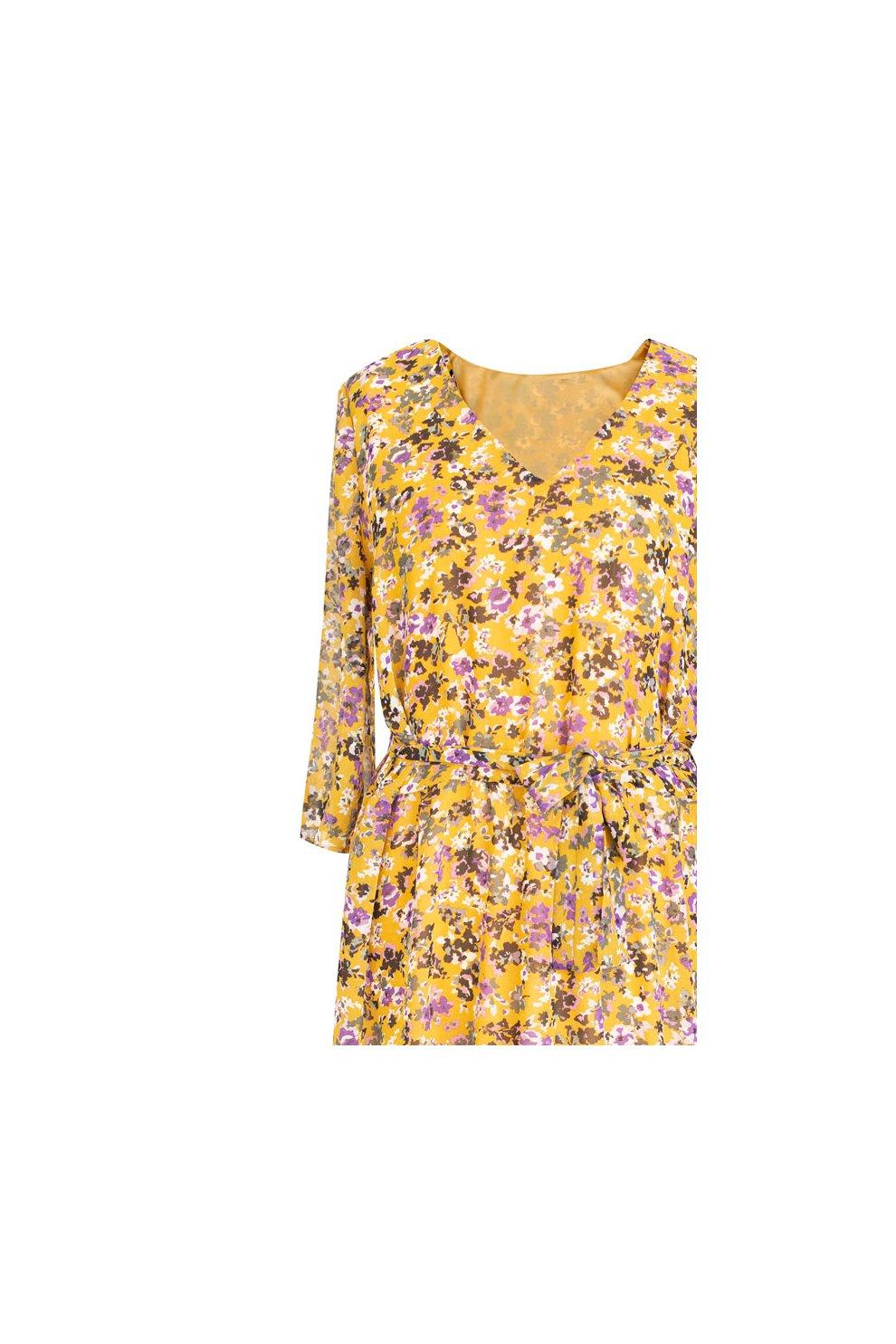 8ce2303479 Żółta sukienka Maxi 7 8 w kwiatki L AMOUR