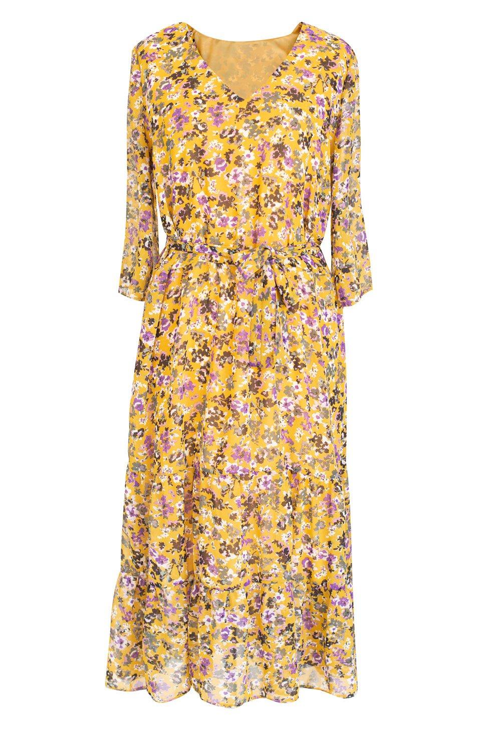 Żółta sukienka w kwiatki LAYLA XL ka