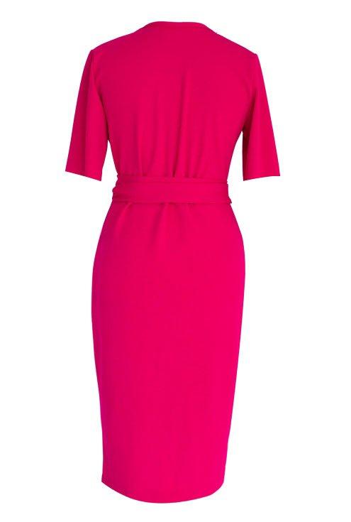 Malinowa sukienka z krótkim rękawem - VENEZIA