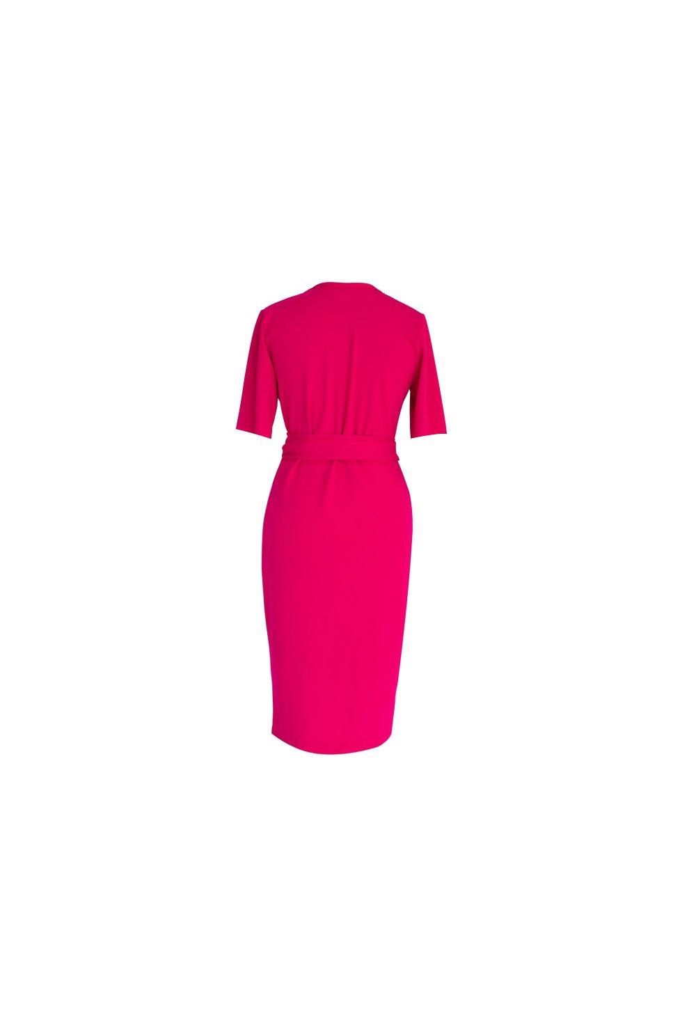 1dea6326 Malinowa sukienka z krótkim rękawem - VENEZIA - Sklep PLUS SIZE XL-ka