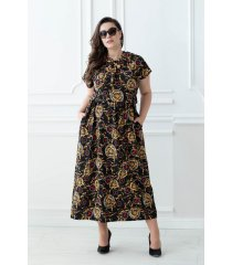 Czarna sukienka ze złotym wzorem - GRACE II