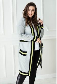 Szarożółty długi wiązany sweter SUSANA