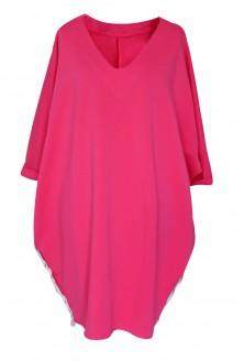 różowa sukienka dresowa oversize dekolt v xxl