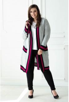 Szaroróżowy długi wiązany sweter SUSANA
