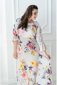 sukienka hiszpanka w kwiaty maxi