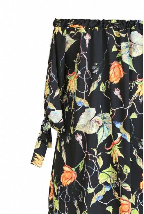 wzór roślinny sukienka xxl hiszpanka