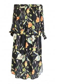 czarna sukienka hiszpanka z roślinnym wzorem