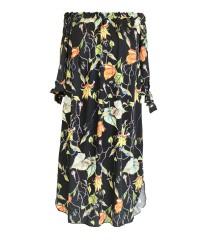 Czarna sukienka hiszpanka - MARITA z roślinnym wzorem