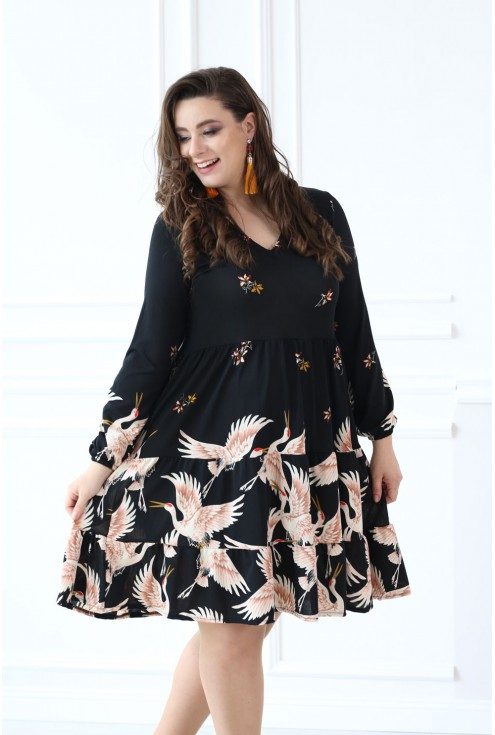 Czarna rozkloszowana sukienka pelikany RYAN