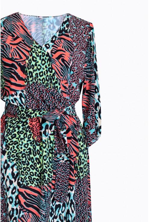 detal sukienka ze zwierzęcym wzorem layla