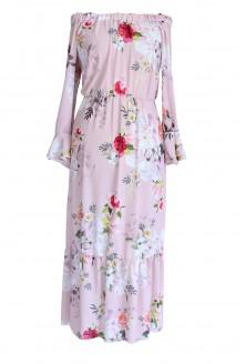 jasnoróżowa sukienka maxi w kwiaty xxl