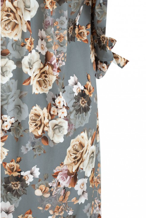 bok sukienki w kwiaty plus size beż