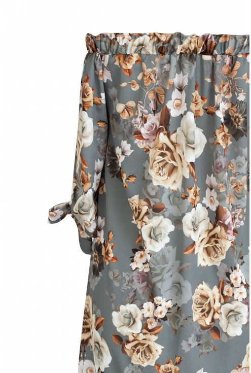 Sukienka hiszpanka w kwiaty MARITA - szarości i beże
