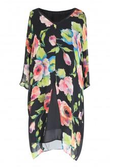 Dwuwarstwowa sukienka/tunika w róże - ROSA