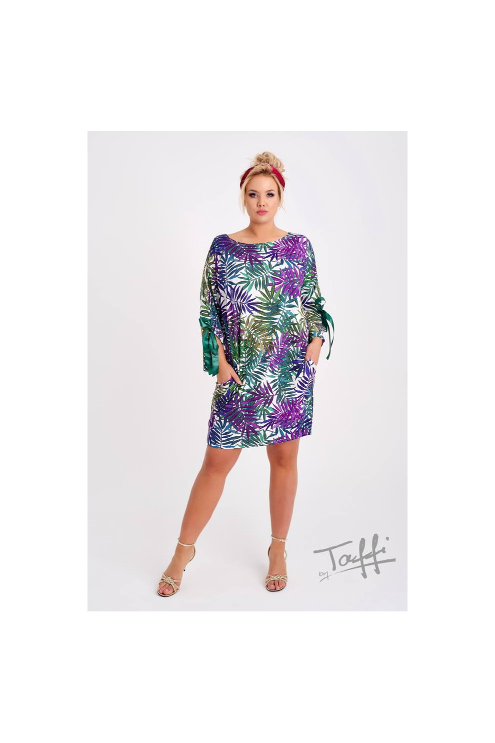 acd3a524e2 Tunika Sukienka w liście - SANTI PRINT - XL-ka