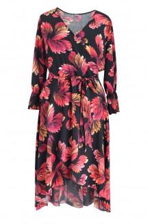 rozkloszowana sukienka plus size wzór liście