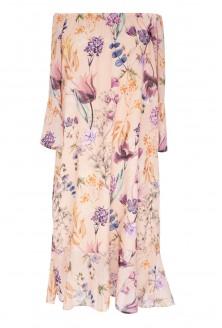 Brzoskwiniowa sukienka maxi w kwiaty NOVIA