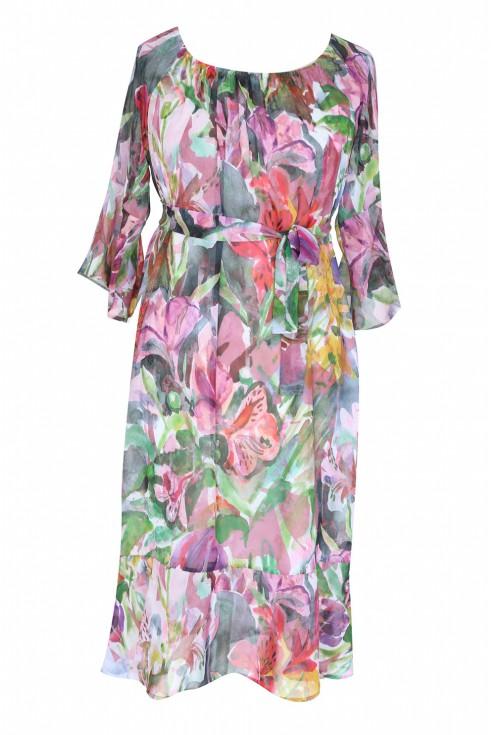 kolorowa sukienka hiszpanka w kwiaty plus size
