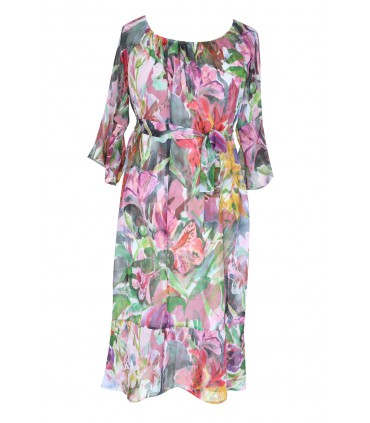 Kolorowa sukienka w kwiatowy wzór NOVIA