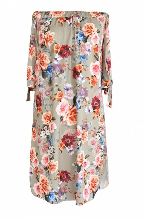 beżowa sukienka w kwiaty Marita