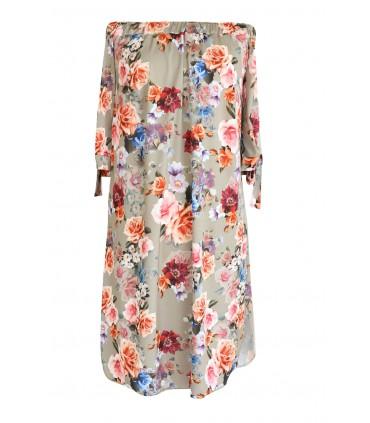 Beżowa sukienka hiszpanka w kwiaty MARITA